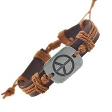 2017 New Arrival Genuine Leather Bracelets For Women Men Peace Bracelets & Bangles Fashion Fine Jewelry