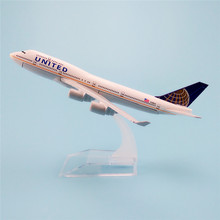 16cm Metal Aircraft Plane Model Air United Airlines B747 Boeing 747 Airways Airplane Model w Stand Crafts Kids Gift(China)