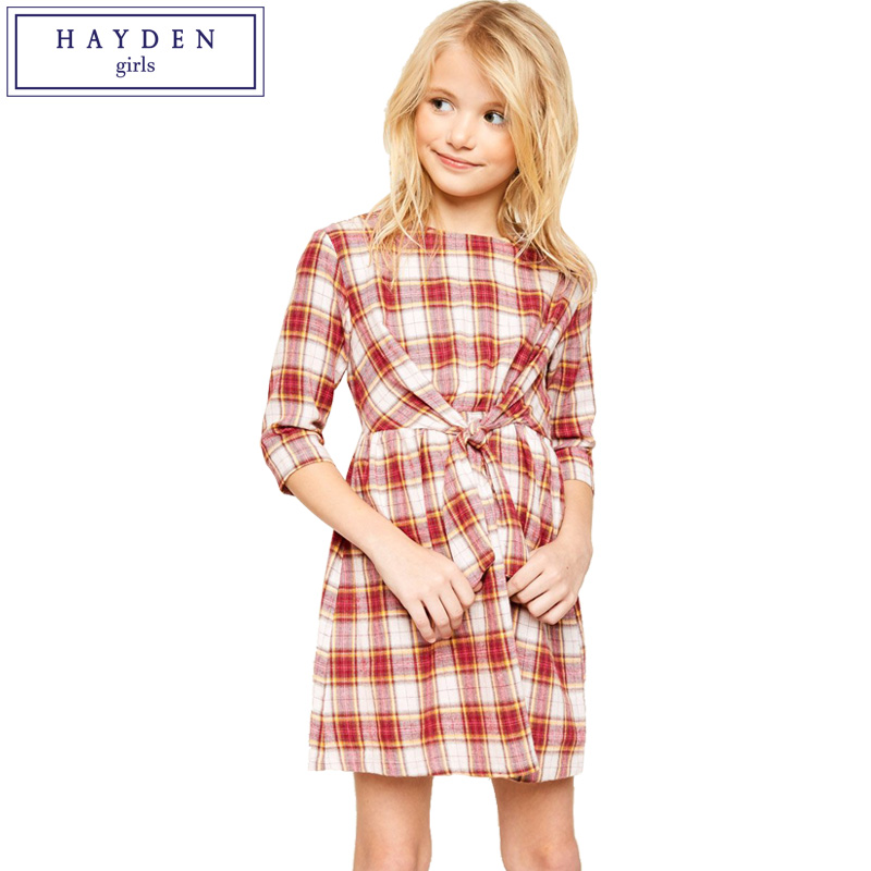 HAYDEN Girls Plaid Dress 100% Cotton 2018 Spring Summer New Arrival Big Girls Flannel Dresses Size 8 10 12 14 Years Clothes<br>