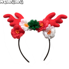 1 Piece Children's Christmas Hairband Felt Antler Hairbands Handmade Floral Bowknot Tiaras Kids' Festival Hair Accessories(China)
