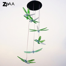 ZPAA Solar Power Dragonfly LED Solar Light Yard Led Outdoor Light Garden Path Decoration Wind Chime Lamp(China)