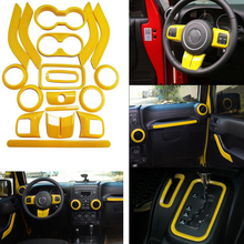 18Pcs Yellow Full Set Interior Decoration Trim Kit Door Handle, Air Conditioning Vent Cover Trim For Jeep Wrangler Jk 2011-2016