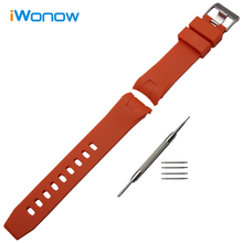 Silicone Rubber Watchband 20mm 22mm for Omega Seamaster Planet Ocean Watch Band Steel Buckle Strap Wrist Bracelet Orange Black