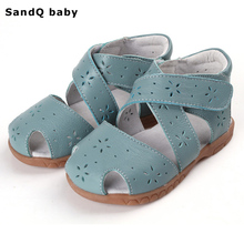 2017 New Summer Children Genuine Leather Sandals Hollow Out Girls Sandals Wear-resistant Kids Footwear Baby Toddler Shoes