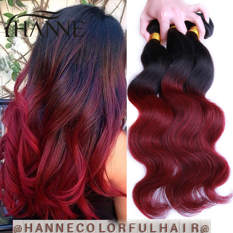 Quality Guarantee 3 Bundles Peruvian Body Wave Ombre 2 Tone 1B#Burgundy Remy Human Hair 10short to30 long Ombre Hair Extension<br><br>Aliexpress