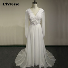 New Simple Chiffon And Lace Vintage Wedding Dress Vestidos De Noiva Bridal Gown With Long Sleeves Beach Wedding Dress