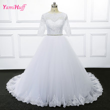 White Wedding Dresses Turkey With Sleeves Women Trouwjurk African Arab Bridal Gowns Real Photo Pearls Belt Ball Gown R223