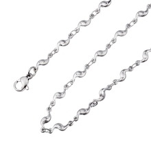 LASPERAL Flower Curve Adjustable Stainless Steel Necklaces For Women Silver Tone Accessories DIY Jewelry Making Supplies