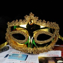 Luxury Gold Silver Party Mask Lace Edge Venetian Masquerade Mask Crystal Mardi Gras Mask 100pcs/lot free shipping