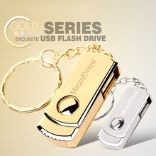 Rotatable Mini USB Silver / Gold Metal Micro Drive 64gb 32gb usb flash drive 16 GB 8gb 4gb memory stick pen drive with key chain