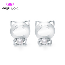 Pryme Stud Earring Jewelry New Fashion High Quality Kitty Design Pearl Earring Gift For Girls Earring ZE-004 Wholesale 10Pcs/lot