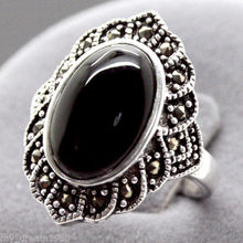 Hot sale new Style >>>> Vintage 17X22MM Oval Black stone Marcasite 925 Sterling Silver Ring 7/8/9/