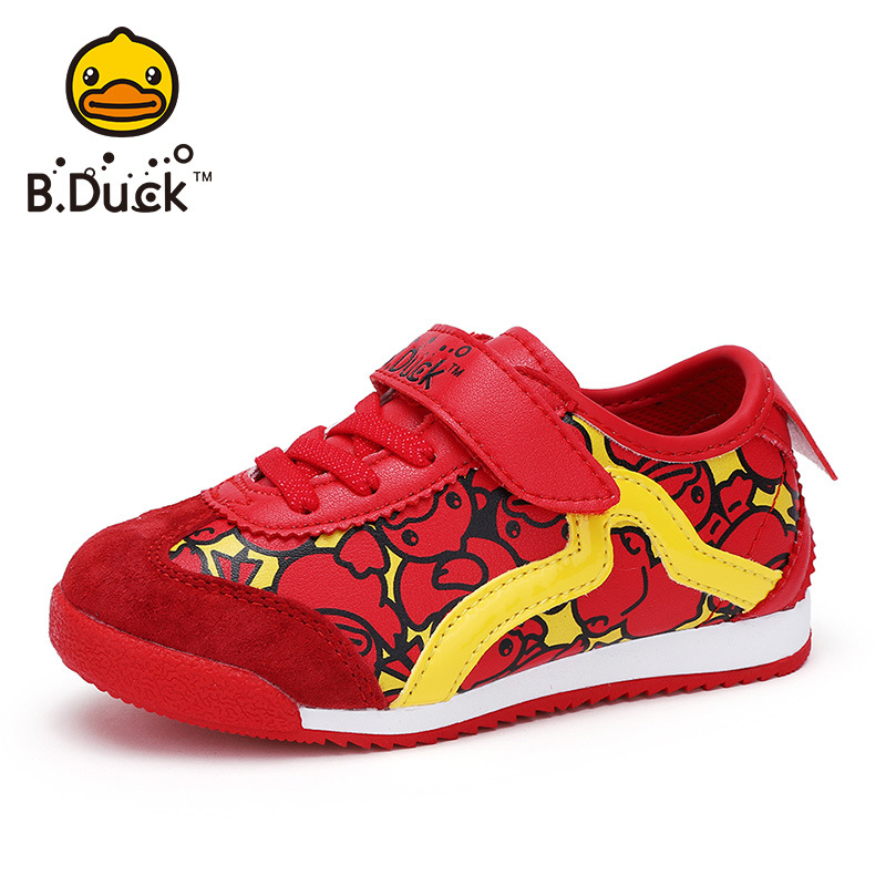 B . Duck brand kids casual shoes yellow duck children tenis shoes boys school running sneakers leather up material