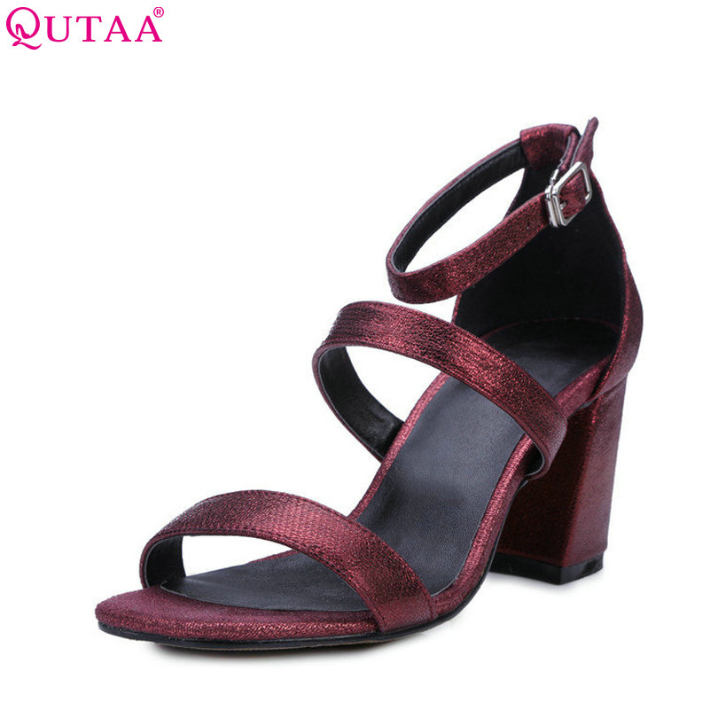 QUTAA 2017 Women Sandal Black Square High Heel Platform Ankle Strap Classic Genuine Leather Ladies Wedding Shoes Size 34-39<br>