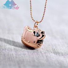 Miss Lady Crystal Necklace Pendant Floating Cameo Locket  Necklace Photo Cute cat Hello Kitty For Women Men Sweet Memory MLY224N