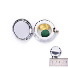 2017 Divide Storage 1Pcs/Lot Metal Round Silver Tablet Pill Boxes Holder Advantageous Container Medicine Case Small Cases(China)