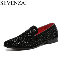 mens studded loafers men spike shoes black 2017 footwear rhinestone wedding luxury shoes men cool designer loafers shoes for men