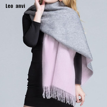 Leo anvi 100% Lamb Wool Scarf for Women Wool Pashmina Bandana Winter Spring Long Women Scarf gray pink Shawls Female