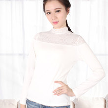 Winter lady warm undershirt lace cuffs slim big yards inner wear female long sleeved shirt black white thermal long johns women