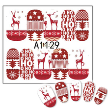 STZ 1 Sheets Christmas Red Full Cover Deer Pattern for Nail Art Decorations Nail Sticker Water Transfer Foils Wraps A1129