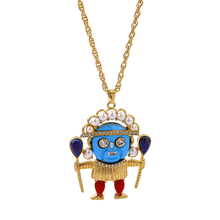 Distinctive General Character Lovely Pendant Necklace Colorful Blue Face King White Beads Crown Necklace(China)