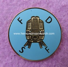 Custom F D S F  imitation hard enamel circular train badge