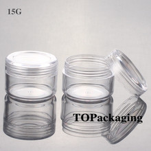 100PCS/LOT-15G Cream Jars,Clear Plastic Makeup Sub-bottling,Empty Cosmetic Container,Small Sample Mask Canister,Nail Art Box(China)