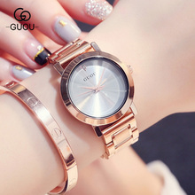 New GUOU Crystal Rose Gold Steel Women Ladies Quartz Wristwatches Wrist Watch Waterproof Hardlex Face 8171(China)