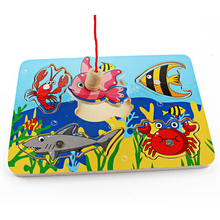 Cute Ocean Animal Crab Fish Baby Puzzle Preschool Infant Magnetic Fishing Wooden Toy 3D Jigsaw Children Educational Gift Toy(China)
