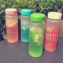 Keythemelife Water Bottles 500ml Frosted Leak-proof Health Portable tools Outdoor Sport Water Bottle Candy Color CA(China)