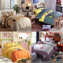 Cartoon Juvenile Double Cotton Bedding Set 4Pcs Duvet Cover Quilt Cover Sheets Pillowcase Back Cushion Cover Bedroom Bedclothes(China)