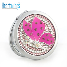 bling rhinestone Crystal butterfly angel Mini Beauty pocket mirror,stainless steel frame,makeup compact mirror,free shipping(China)
