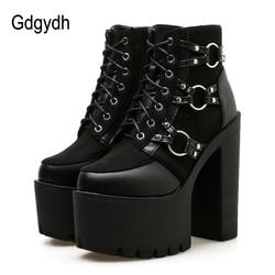 Женские мотоциклетные ботинки Gdgydh, черные, повседневная обувь на платформе и каблуке с круглым носком для осени, 2019
