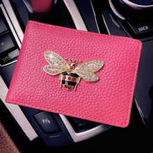 Rhinestone business card holder promotion shop for promotional rhinestone bee auto driver license bag pu leather on cover for car driving documents card credit holder purse gifts for women colourmoves