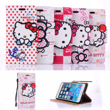 For iPhone 6 6s Plus Phone Case Cute Hello Kitty bowknot buckle PU Flip Wallet Leather Protective Case Cover