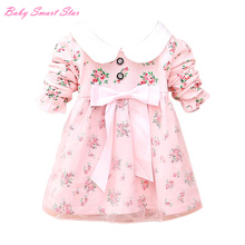 2016 New spring baby dress bebe infant sweet cute floral long sleeve turndown collar dress with big Bow-knot baby lace dress