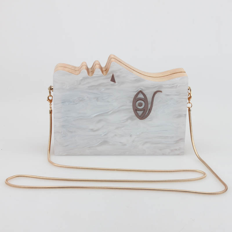 2017 new acrylic wooden clutch bag half human face women bags mini acrylic clutch party bags evening purse envelope clutch<br>