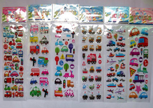 5 sheets/lot vehicle cars trains traffic Stickers 3D Cartoon Classic Toys Scrapbook For Kids Children Gift Reward Sticker GYH