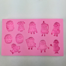 Free shipping small yellow people silicone mold soap, baking chocolate fondant cake decoration tool F0301