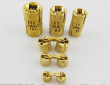 Durable 6pcs 10*22mm 10mm Brass Barrel Hinge Cylindrical Hidden Cabinet Hinges Concealed Invisible Mortise Mount Hinge(China)