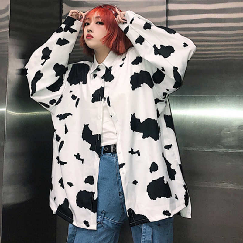 d159e63115f Detail Feedback Questions about Women s Clothing Autumn harajuku New Coats  loose BF Single Breasted Jackets cow print ulzzang Turn down long Sleeve  Jackets ...