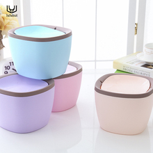 luluhut Mini desktop trash can waste garbage paper basket small table rubbish bin kitchen storage plastic waste bucket(China)