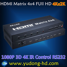 HDMI Matrix 4x4 HDMI Switcher 4X4 Support 1080P 3D 4K 2K Bi-directional IR control ,RS232 Free Shipping DHL