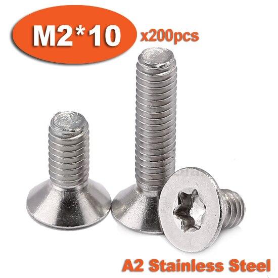200pcs DIN965 M2 x 10 A2 Stainless Steel Torx Countersunk Flat Head Screw Screws<br><br>Aliexpress