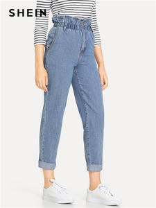 SHEIN High-Waist Jeans Trousers Casual-Pants Blue Women Spring Pocket-Zipper 3-Colors