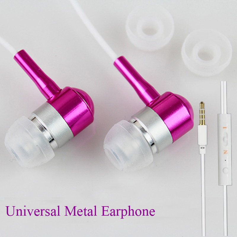 Universal Transfer switch Metal Stereo Earphone 3.5mm In-Ear Earbuds Sport Running Headset Answer Call For Computer Iphone X2(China (Mainland))