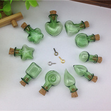 50pieces 20mm mixed  green color glass Bottle with cork essential oil vial glass dome popular glass globe necklace pendant