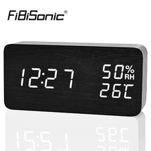 FiBiSonic Modern Digital LED Alarm Clock Sound Control Wooden Despertador Desktop Clock Humidity Temperature Display(China)