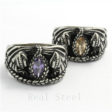 Fast Shipping !! Wholesale lots Double Snake New Design Ring Silver Stainless Steel Colorful Crystal Cool Ring Gothic Style(China)