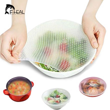 FHEAL 3pcs Silicone Wraps Seal Cover Stretch Cling Film Food Fresh Keep Kitchen Tools(China)